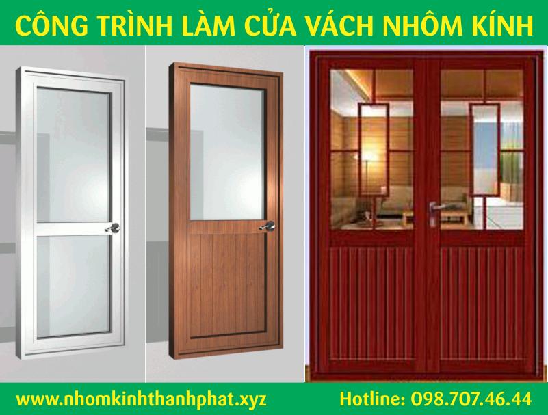mẫu cửa đi nhôm kính đẹp quận Bình Tân