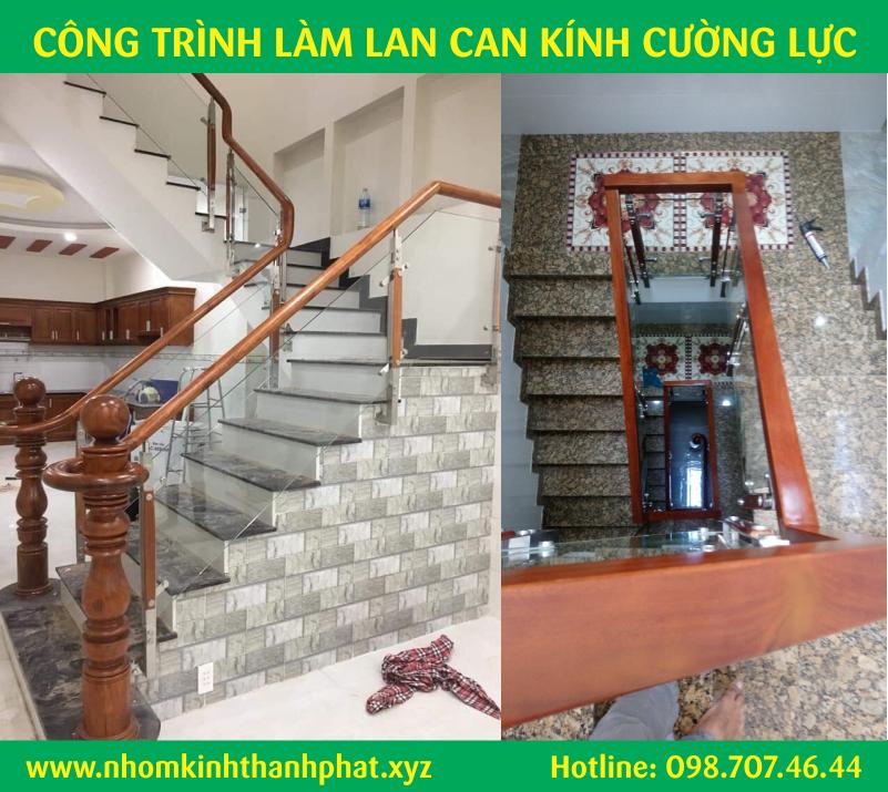 Làm lan can cầu thang ban công kính cường lực quận Bình Tân