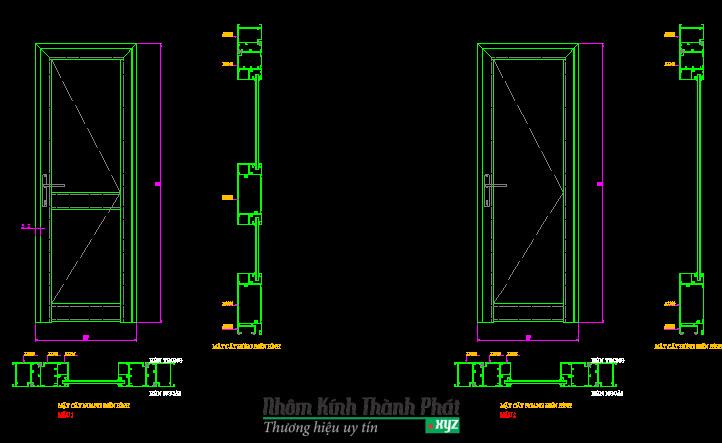 Bản vẽ cửa di nhôm kính AutoCAD